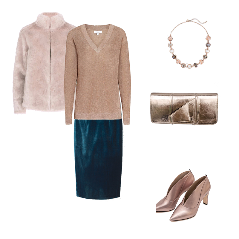How to Wear Christmas Jumpers - rose gold Reiss shimmer sweater, velvet skirt, rose gold shoes and bag, faux fur jacket