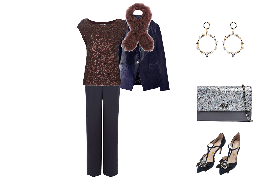 Christmas wardrobe Essentials, Velvet jacket, sequin top, faux fur scarf, metallic bag