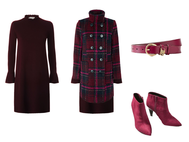 How to wear a jumper dress, deep plum knitted dress, check coat, pink belt and boots