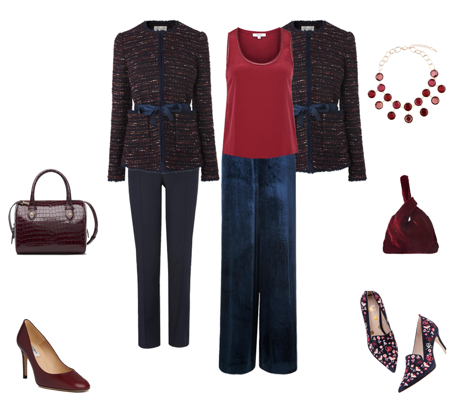 How to go from desk to party, LK Bennett velvet trousers, bag and tweed jacket, Boden embroidered shoes