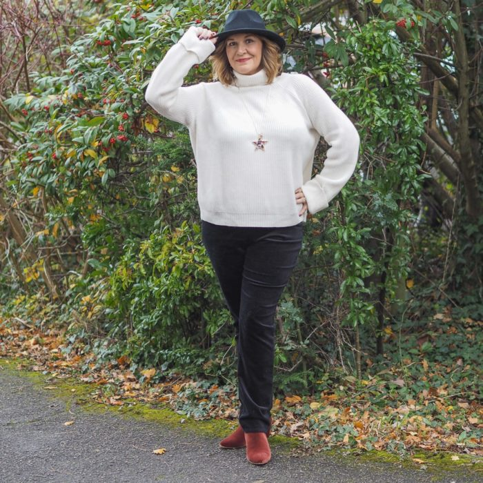 Key Wardrobe Items for Winter and Christmas, Velvet Jeans, Maria Sadler, Stylist wearing Black velvet jeans, cream sweater and hat