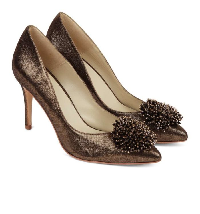 best party shoes, bronze court shoes with decorative pom pom