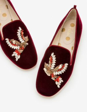 Best party shoes, burgundy velvet embroidered loafers