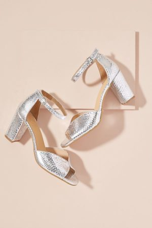 Best party shoes, silver block heeled sandals