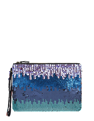 Evening bags, jewellery and cover ups, multi coloured sequin clutch bag