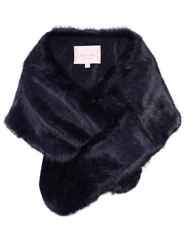 Evening bags, jewellery and cover ups, blue faux fur wrap