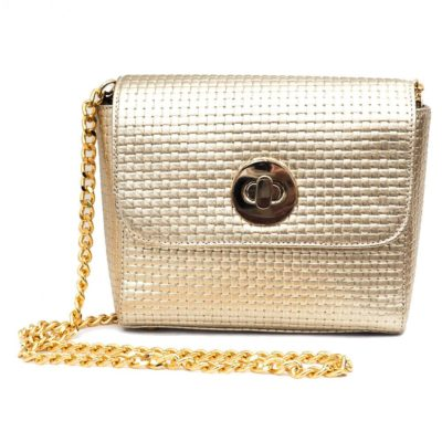 Evening bags, jewellery and cover ups, gold woven Alison van de Landa bag