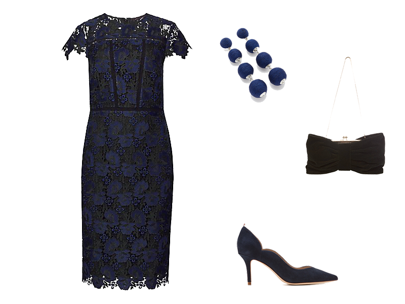 Party Outfits on a Budget, lace dress, navy accessories
