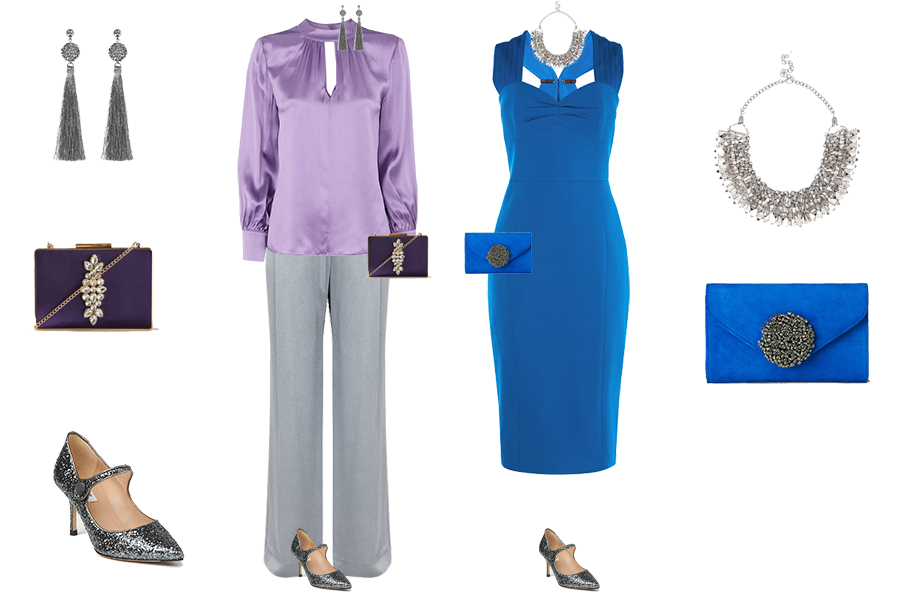 party outfits to suit your colouring, light colouring, lilac Whistles blouse, silver Reiss trousers, blue karen millen dress, silver LK Bennett shoes