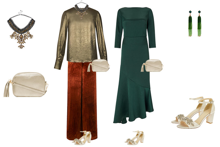 Party outfits to suit your colouring - warm colouring, LK Bennett rust velvet trousers, Hobbs bronze blouse, Boden deep green dress,