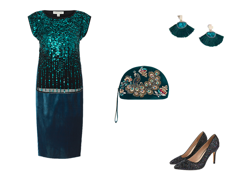 Party Outfits on a Budget, teal velvet skirt, teal sequin top, teal accessories