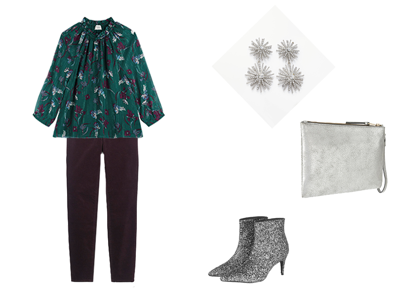 part outfits on a budget, velvet leggings, silver accessories