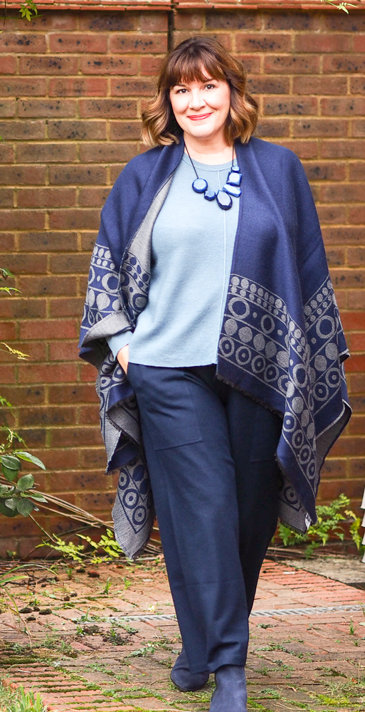 Capsule wardrobe updates, Maria Sadler, stylist and fashion blogger wearing Maxmara blue print wrap, Eileen Fisher knit and trousers