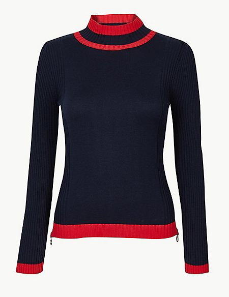 10 new in must buys, Marks and Spencer navy sweater with red trim