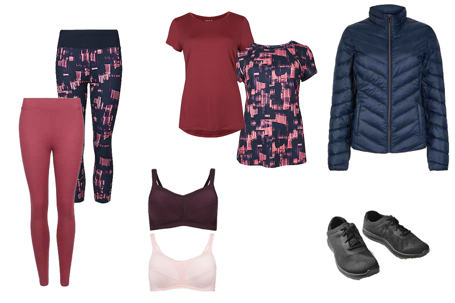 sports wear capsule wardrobe, Marks and Spencer, leggings, t-shirts, sports bra, trainers