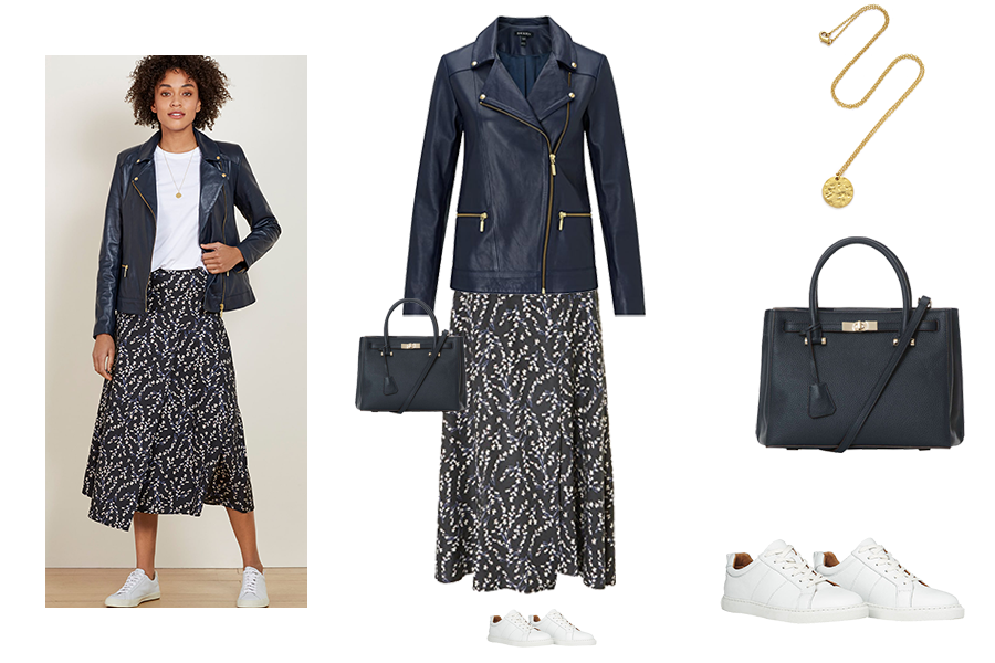 capsule wardrobe refresh, Baukjen print skirt and leather jacket, Capsule accessories navy tote bag, white trainers