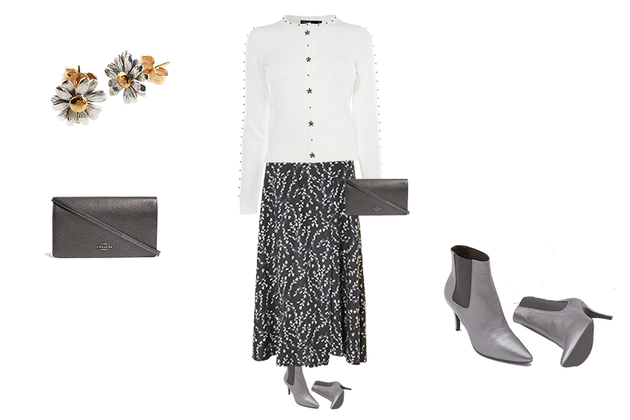 capsule wardrobe refresh, Baukjen print skirt, white embellished cardigan, pewter ankle boots, pewter Coach bag, flower earrings