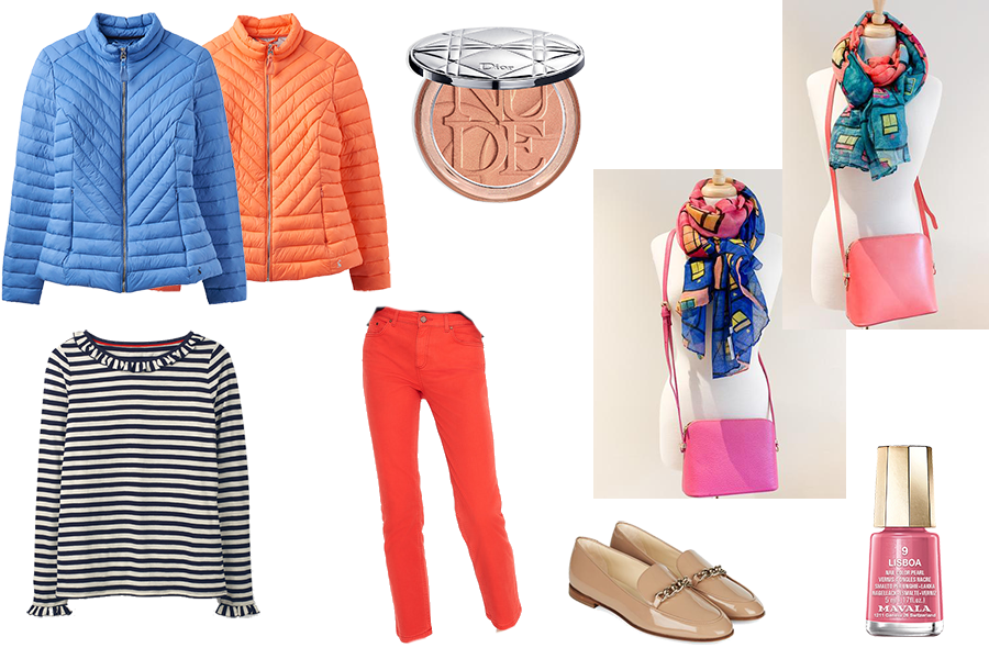 Stylish buys, red jeans, capsule accessories bags and scarves, pink nail varnish , bright coats