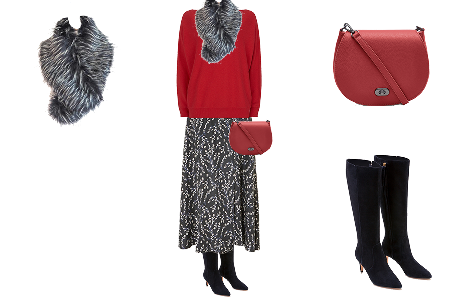 capsule wardrobe refresh, Baukjen print skirt, red sweater, capsule accessories faux fur scarf and red bag