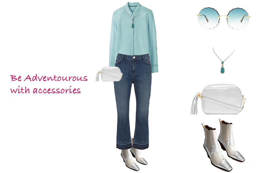 How to make your outfits more stylish, crop jeans, silver boots, Chloe sunglasses, capsule accessories silver bag, Boden silk shirt