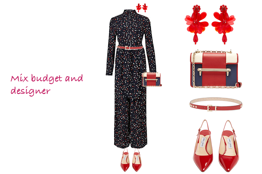 How to make your outfits more stylish, Floral jumpsuit, Red Jimmy Choo shoes, Valentino belt and bag