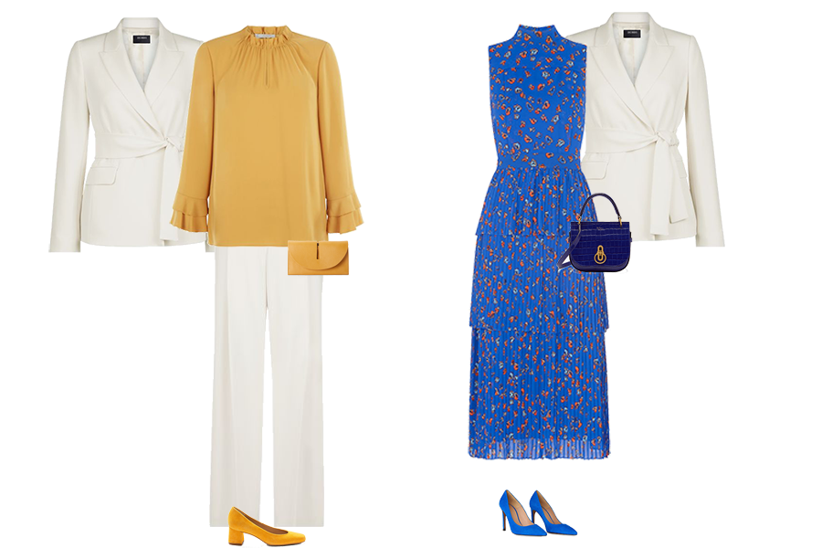 new jacket shape, tie waist cream Hobbs jacket, cream trousers, mustard blouse, Whistles bright blue dress