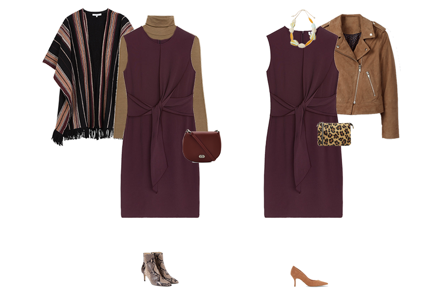How to wear pieces multiple ways, Burgundy shift dress, wrap, snake ankle boots, suede biker jacket, animal print bag