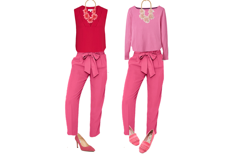 New Ways to Wear Pink, pink peacock trousers Boden, red vest top Reiss, Pink court shoes, Pink loafers