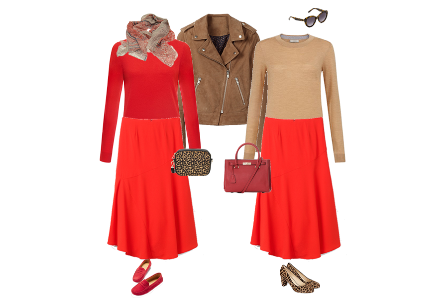 colour combination everyone can wear, red skirt and sweater, camel suede biker jacket, animal print shoes, red bag from capsule accessories