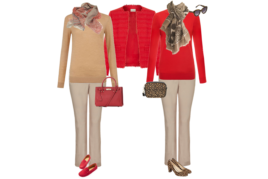 colour combination everyone can wear, red jacket and sweater, camel trousers, animal print shoes, red bag from capsule accessories
