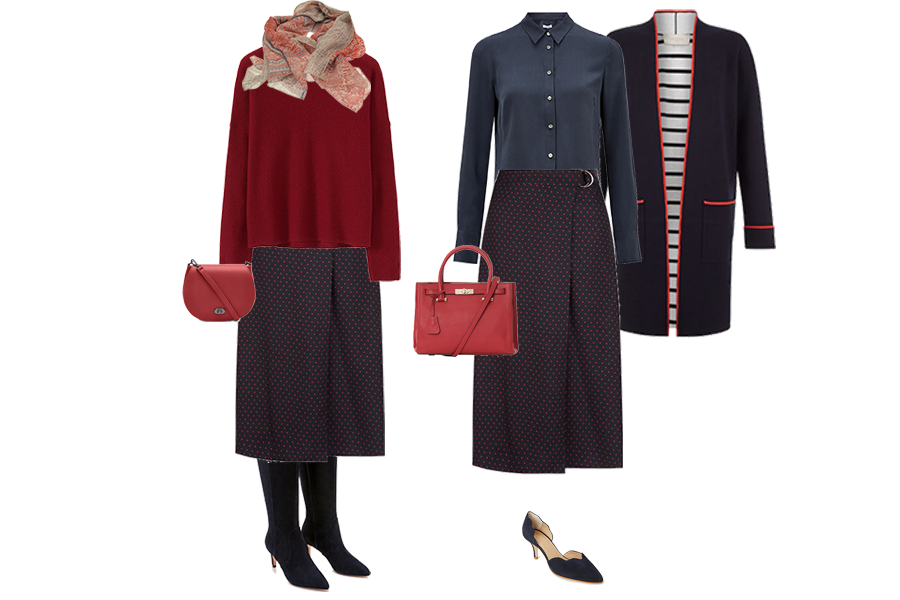 capsule wardrobe pieces, Hobbs wrap front skirt, smart casual and office wear
