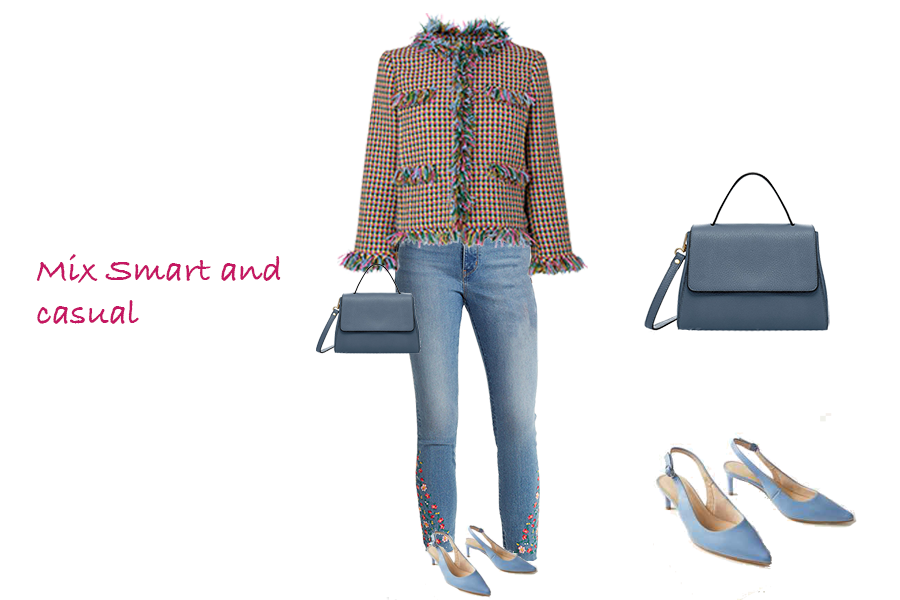 How to make your outfits more stylish, LK Bennett tweed jacket, embroidered hem jeans, kitten heel shoes, capsule accessories bag