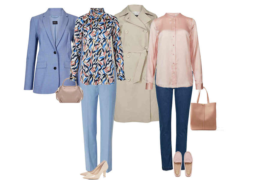 Trench coats, Marks and spencer trench, blue jacket and trousers, jeans and silk shirt, Dune pink loafers, Capsule Accessories bag