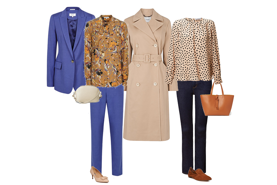 Trench coats, Reiss blue suit  and silk shirt, Marella blouse , NYDJ jeans, LK Bennett loafers and tote