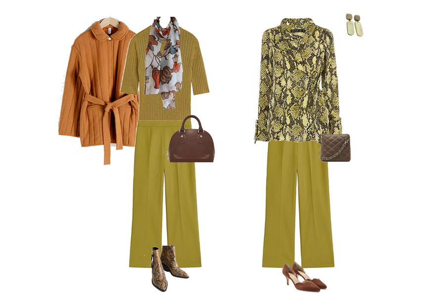How to wear pieces multiple ways - tailored lime trousers, lime knit, tan wrap jacket, snake boots, snake print wrap top