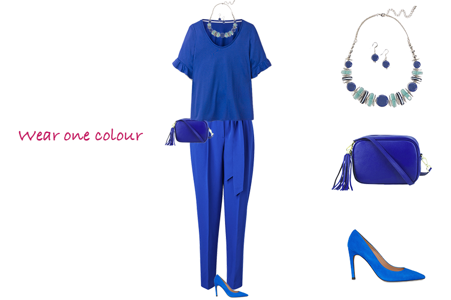 How to make your outfits more stylish, bright blue outfit, Boden paper bag trousers, LK Bennet heels, Capsule Accessories bag