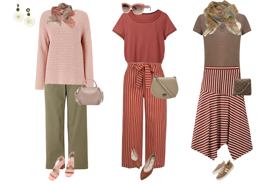 Desert shades, green trousers, Mint Velvet red stripe trousers, Boden stripe jersey skirt // Capsule accessories bags