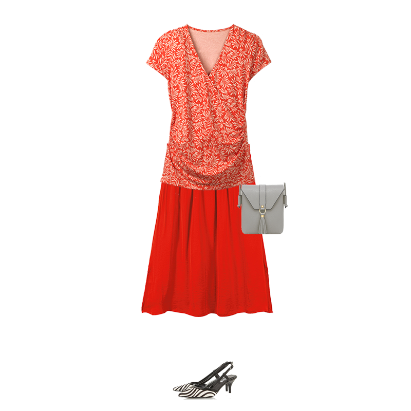 Spring outfits to suit your colouring, red wrap top and skirt, capsule accessories grey bag, Dune zebra strip shoes
