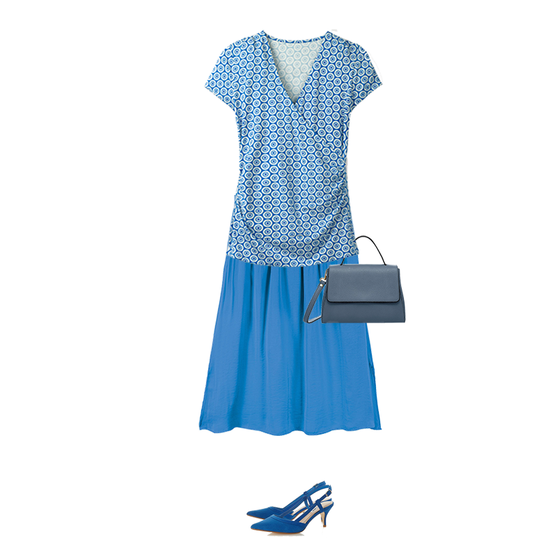 Spring outfits to suit your colouring, bright blue wrap top and skirt, capsule accessories bag, slingback shoes