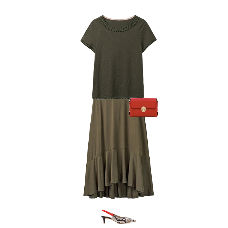 Spring outfits to suit your colouring, Boden Olive green top and skirt, capsule accessories red bag, snake print slingback shoes
