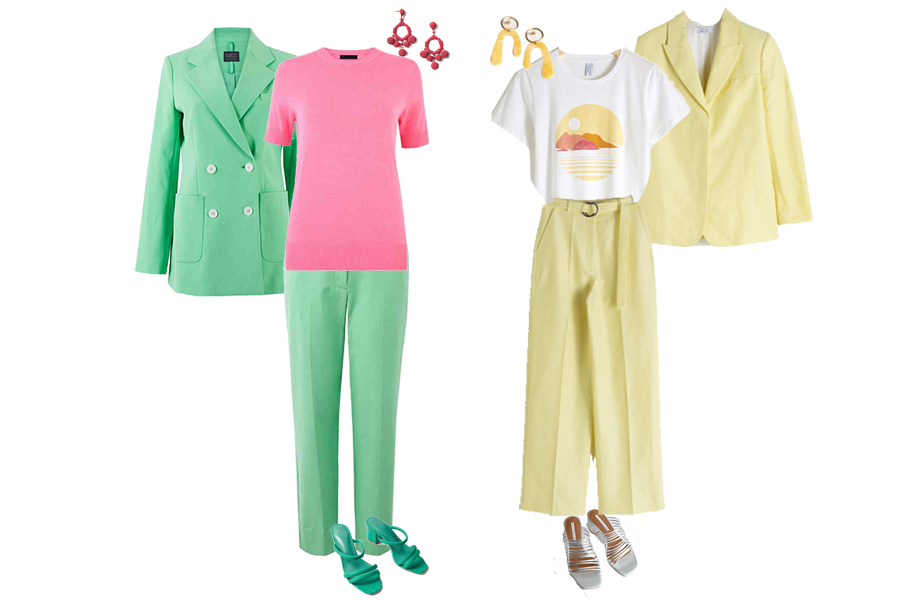 seasonal trend crayons suits, green trouser suit, pink top M and S, Yellow trouser suit, picture T-shirt, Other Stories