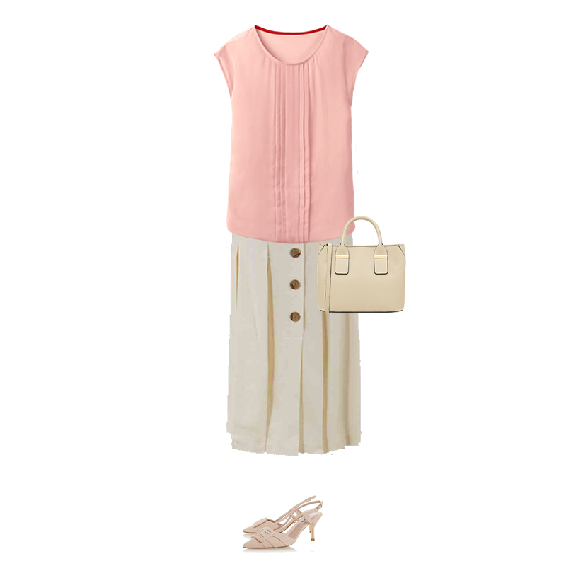 Spring outfits to suit your colouring, pink top, ivory button front skirt, sling back shoes, capsule accessories bag