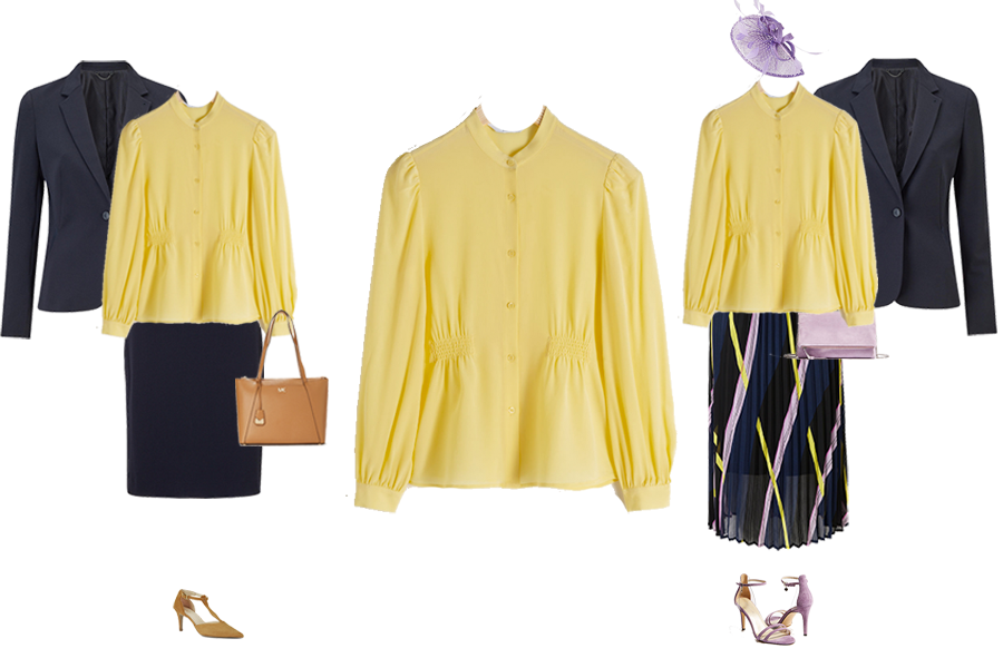 capsule wardrobe pieces, yellow silk blouse, for work with navy suit, for weddings with pleat skirt, lilac bag, sandals, fascinator