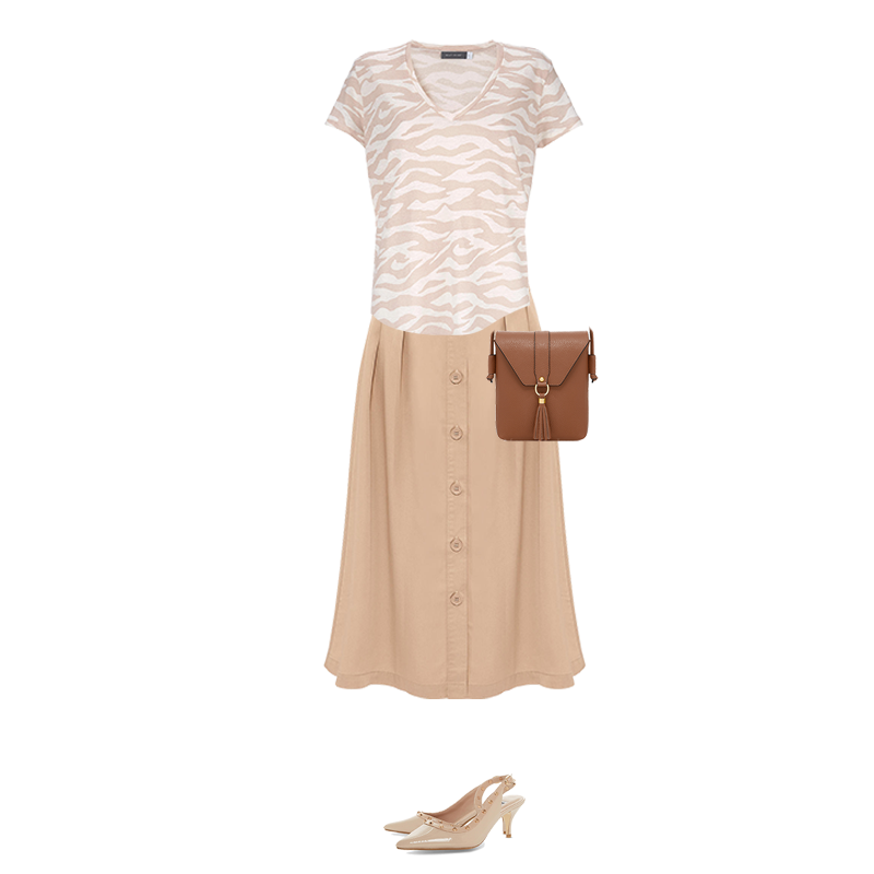 Spring outfits to suit your colouring, neutral zebra print top, button front skirt, capsule accessories tan bag, slingback shoes
