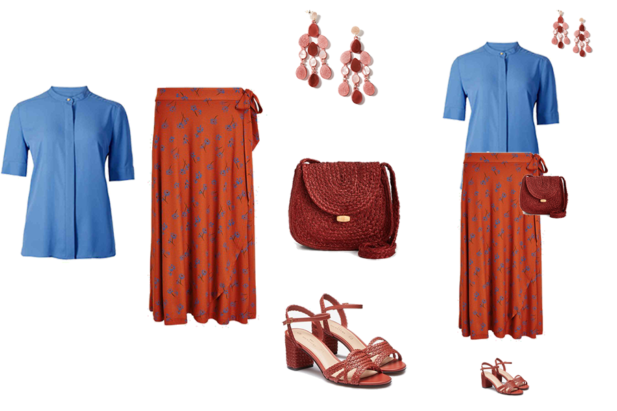 Spring Skirt Outfits, wrap print skirt, woven bag, woven sandals, blue top, drop earrings