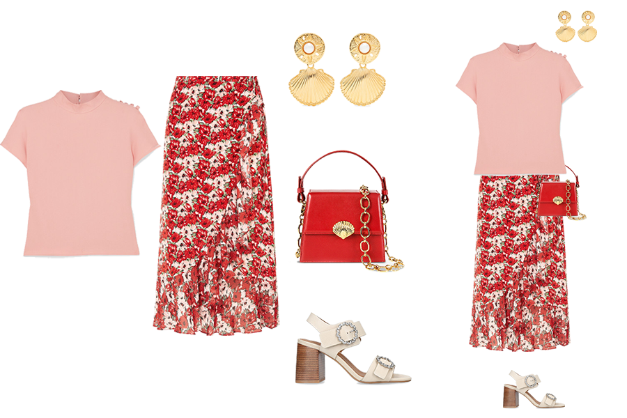 spring skirt outfits, wrap print skirt, Rixo, Chloe sandals, Shell earrings