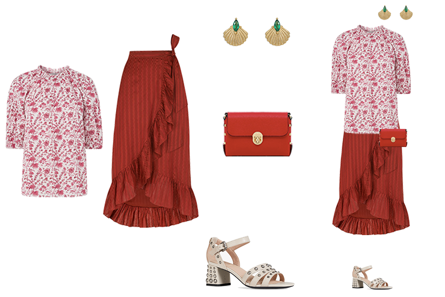 Spring Skirt Outfits, rust wrap frill skirt, capsule accessories stud bag, studded sandals, shell earrings