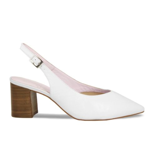 Pretty shoes for women with bunions, Alessia white slingback shoe with block heel