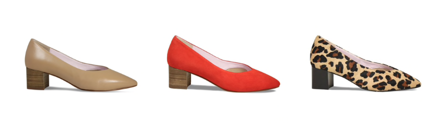 Pretty shoes for women with bunions, court shoes with block heel