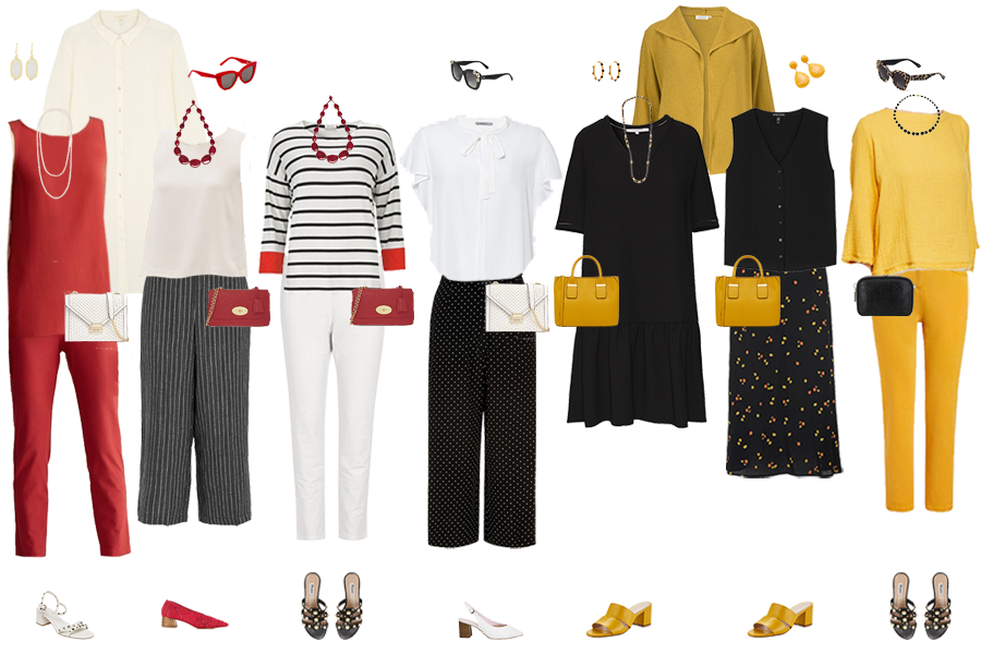 Spring capsule wardrobe example, outfits for 7 days